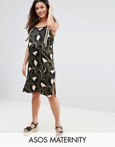 ASOS Maternity Animal Print Stripe Cami Dress - Зеленый