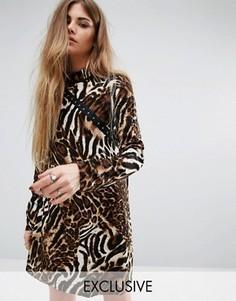Платье с высоким воротом и леопардовым принтом Reclaimed Vintage - Мульти