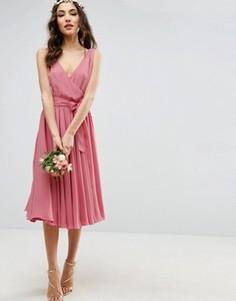 Платье миди с бантом спереди ASOS WEDDING - Бежевый