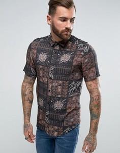 Рубашка из вискозы классического кроя с винтажным принтом ASOS - Серый