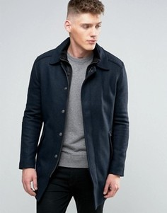 Calvin Klein Jeans Wool Blend Overcoat with Inner Lining - Синий