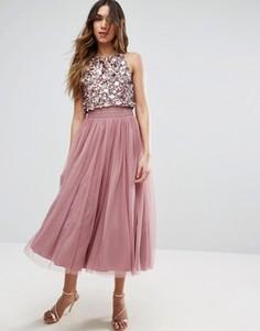 Платье миди с отделкой на укороченном сетчатом лифе ASOS - Розовый