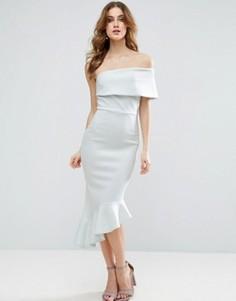 Платье миди на одно плечо с баской ASOS - Синий