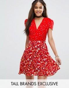 Чайное платье с цветочным принтом Glamorous Tall - Мульти