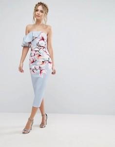 Асимметричное платье на одно плечо с цветочным принтом True Violet - Мульти