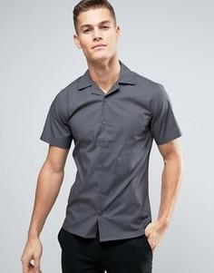 Приталенная рубашка с короткими рукавами и воротником в виде лацканов Only & Sons - Темно-синий