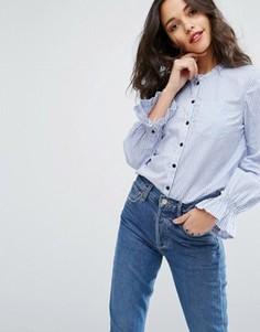 Рубашка на пуговицах с рюшами на рукавах Vero Moda - Синий