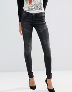 Байкерские джинсы скинни со вставками Noisy May - Черный