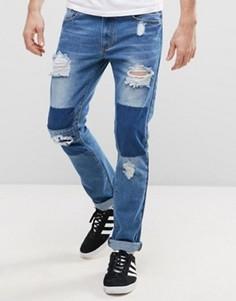 Узкие джинсы в стиле пэтчворк Liquor & Poker - Синий