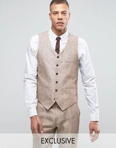 Heart & Dagger Skinny Waistcoats In Linen - Бежевый