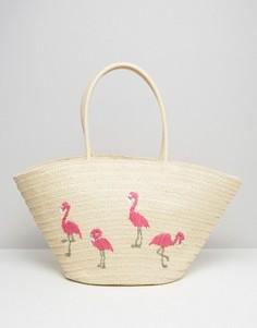 Плетеная пляжная сумка с вышитыми фламинго South Beach - Мульти