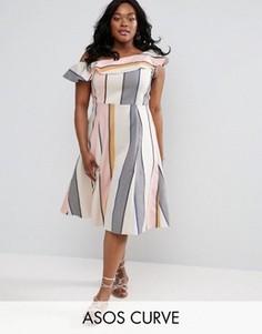 Полосатое платье миди на одно плечо ASOS CURVE - Мульти