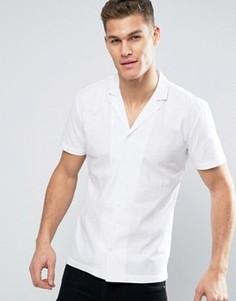 Белая рубашка с короткими рукавами и отложным воротником Minimum Luca - Белый