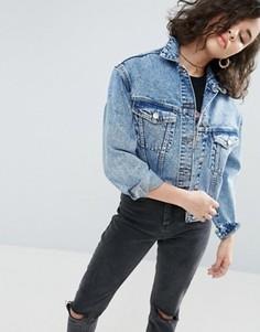 Синяя джинсовая куртка с эффектом кислотной стирки ASOS - Синий