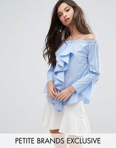 Топ со спущенными плечами и оборками Missguided Petite - Синий