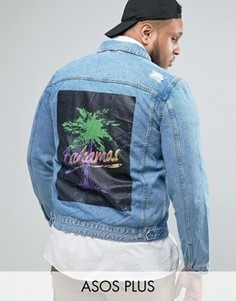 Выбеленная джинсовая куртка с принтом на спине ASOS PLUS - Синий