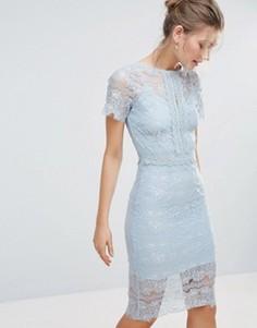 Облегающее кружевное платье миди с короткими рукавами Bodyfrock - Синий