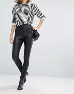 Супероблегающие джинсы из искусственной кожи с завышенной талией Dr Denim Solitaire - Черный