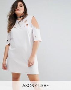 ASOS CURVE Cold Shoulder Nibbled T-Shirt Dress - Бежевый