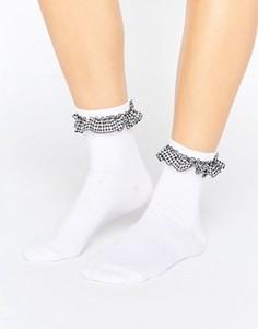 Носки с рюшами в клеточку ASOS - Белый