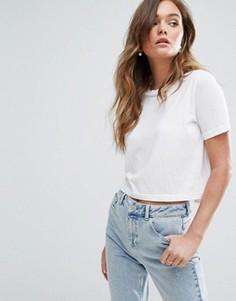 Укороченная футболка Miss Selfridge - Белый