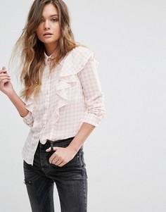 Рубашка в клеточку с оборками Miss Selfrdige - Мульти