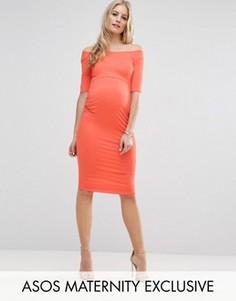 Платье с открытыми плечами для беременных ASOS Maternity - Оранжевый