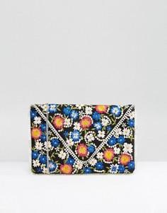 Клатч-конверт с цветочной вышивкой Glamorous - Мульти