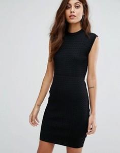 Трикотажное облегающее платье с сетчатым узором Y.A.S Penta - Черный