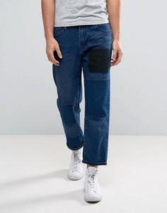Расклешенные джинсы с заплатками Waven - Синий