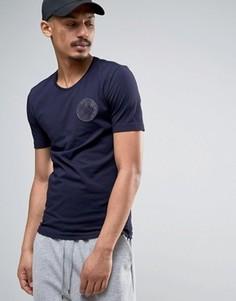 Футболка с логотипом на груди Love Moschino - Темно-синий