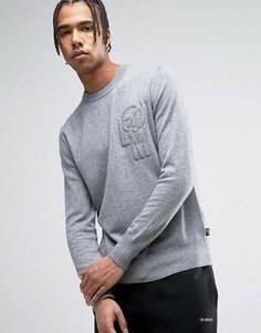 Джемпер с вышитым логотипом на груди Love Moschino - Серый