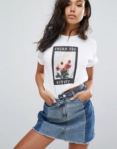 Oversize-футболка с принтом горящих роз Wasted Paris - Белый