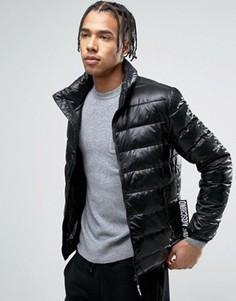 Складывающаяся дутая куртка с фирменной биркой сбоку Love Moschino - Черный