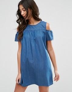 Джинсовое платье с открытыми плечами Brave Soul - Синий
