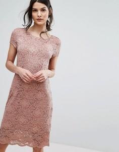 Кружевное платье с короткими цельнокройными рукавами Selected Femme - Розовый