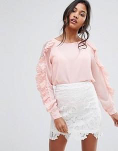 Блузка с оборками на рукавах Boohoo - Розовый