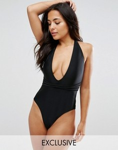 Wolf & Whistle B-F Cup Deep Plunge Swimsuit With Cross Straps - Черный