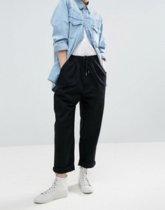 ASOS WHITE Denim Jogger With Tie Detail In Washed Black - Черный