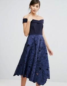 Coast Valerie Bardot Top Midi Dress - Синий