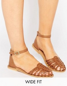 Кожаные сандалии для широкой стопы ASOS JAGWAR - Рыжий