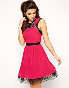 Короткое приталенное платье из шифона с кружевом ASOS - Мульти