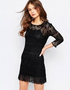 Кружевное платье с бахромой по подолу Goldie Tenessee - Черный
