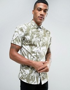 Рубашка классического кроя с принтом пальм и коротким рукавом Solid - Зеленый