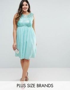 Платье миди с вышивкой на топе и юбкой плиссе Club L Plus - Зеленый