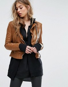 Байкерская куртка с контрастными молниями Muubaa - Коричневый
