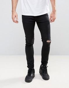 Байкерские джинсы с рваными коленями Religion - Черный