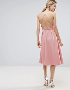 Приталенное платье миди из вафельного трикотажа ASOS - Розовый