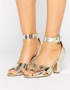 Босоножки на каблуке ASOS HAT TRICK - Золотой