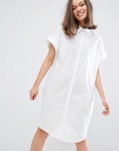 Платье-рубашка с короткими рукавами Monki - Белый